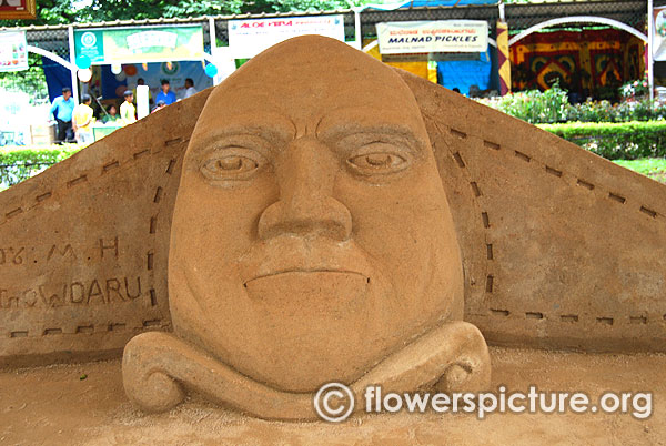 Sand sculpture of m h marigowda father horticulture karnataka