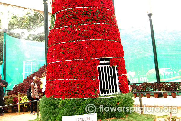 Windmill decorated with rose flowers