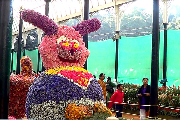 Rabbit creation using flowers