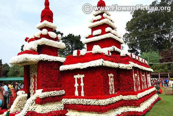 Flower replica of mahabalipuram shore temple